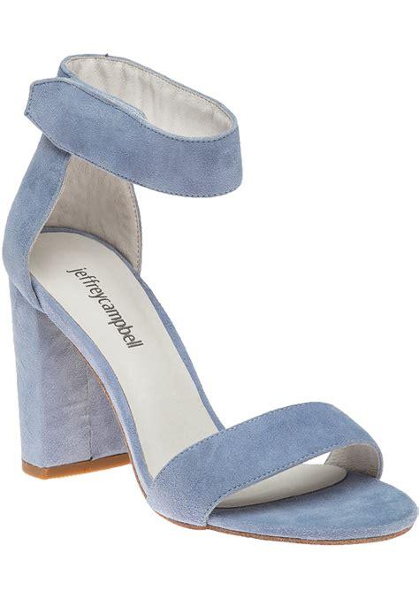 Light Blue Suede Heels by Jeffrey Cbell Lindsay Light Blue Suede Sandal In Blue