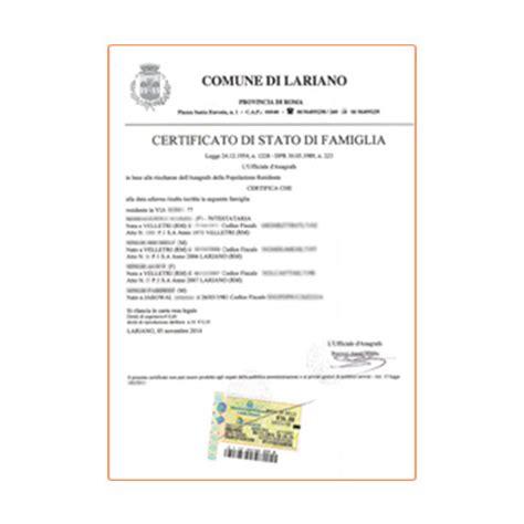 di famiglia certificato di stato di famiglia e certificato storico di