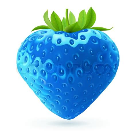 Strawberry Blue realistic illustration of bright blue strawberry on white