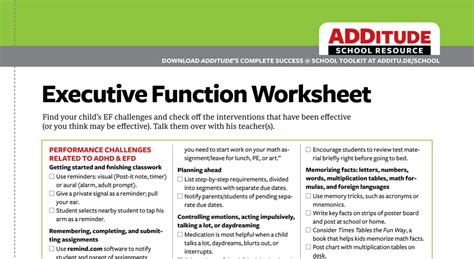 Executive Function Worksheets For Adults by Common Executive Function Challenges Adhd Back To School