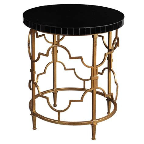 accent table black uttermost mosi gold black accent table
