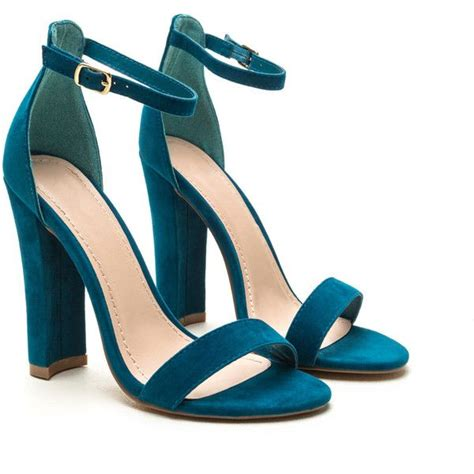 teal shoes heels simple statement chunky velvet heels liked on polyvore