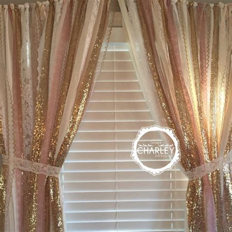 gold lace curtains pink gold sparkle sequin garland curtain with lace nursery
