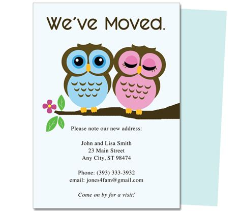 new home card template moving announcements and new address moving postcards