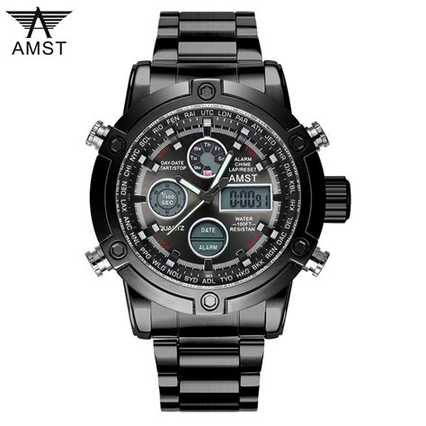 Fabric Jam Tangan Militer 2017 top brand amst 3022 dual display wristwatches luxury watches sports 50m