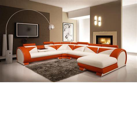 Dreamfurniture Com Modern White And Orange Leather Orange Modern Furniture