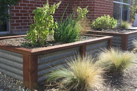 Garden Planter Boxes Ideas More Ideas Corrugated Metal Garden Box Garden Planter Boxes Pint