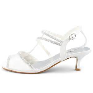 Comfortable Evening Shoes Heels by Shoezy Comfortable White Bridal Satin Diamante Low