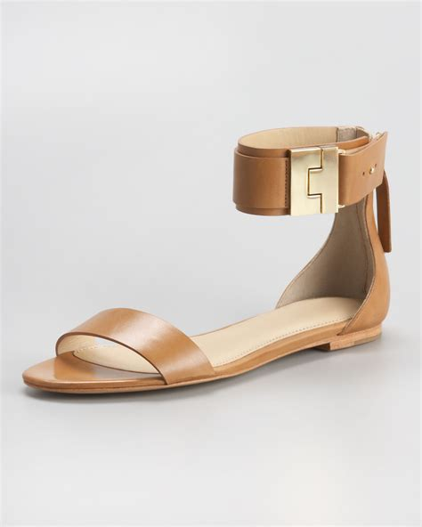 ankle flat sandals lyst zoe ankle flat sandal in brown