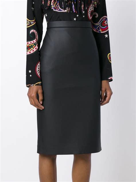 msgm back zip pencil skirt in black lyst