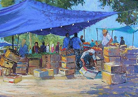 blue awnings painting by jackie simmonds