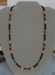 Turquoise blk beaded necklace mens wom native american