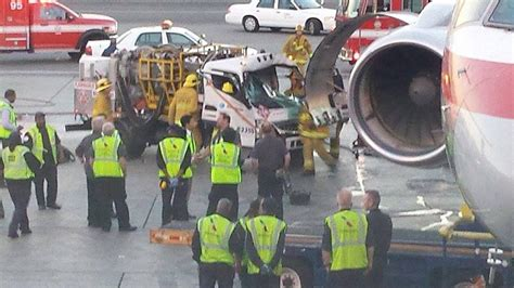 driver rescued after fuel truck collides with airplane at lax abc7