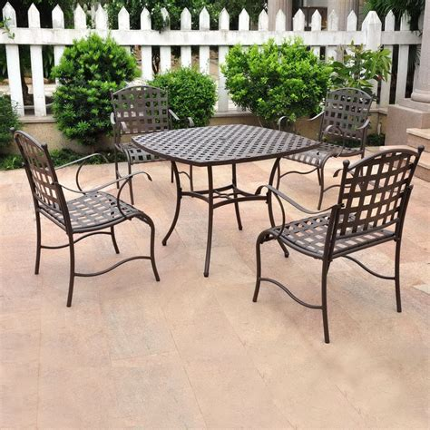 Shop International Caravan 5 Piece Mesh Wrought Iron Patio Wrought Iron Patio Dining Set