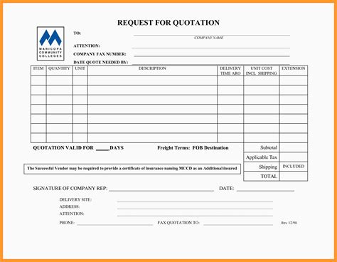 5 6 Request For Quote Template Proposalsheet Com Rfp Template Excel