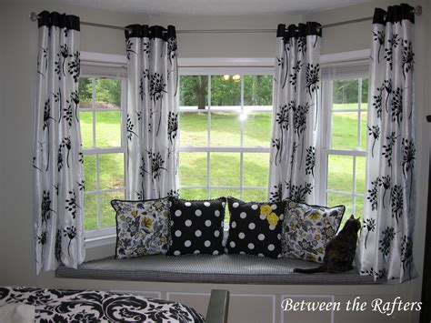 Bay Window Curtains Rods Between The Rafters Do It Yourself Bay Window Curtain Rod Tutorial