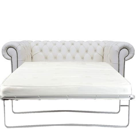 Chesterfield White Genuine Leather 2 Seater Sofa Bed Genuine Leather Sofa Bed