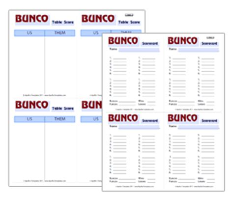 bunco templates bunco score card
