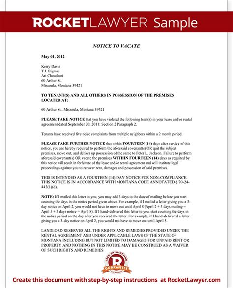 Montana Eviction Notice Mt Eviction Notice Form With Sle Montana Eviction Notice Template