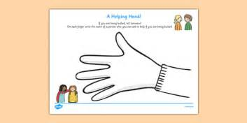 helping hand bullying activity sheet helping hand bullying