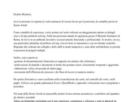lettere di autocandidatura esempio lettera di presentazione autocandidatura impiegata