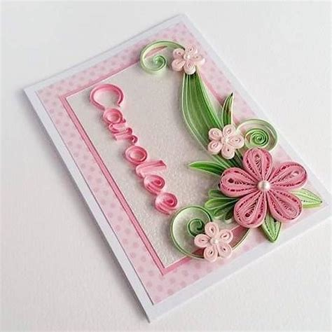 Handmade J - personalized name card quilling card with name