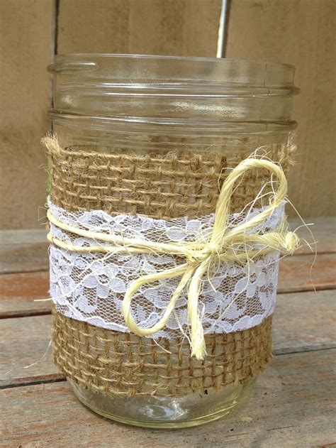 Set of 3 Burlap, Lace and Twine Mason Jars for Decor at a