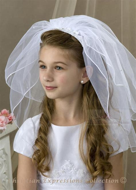 communion hairstyles with headband veil first communion headband veils v835 bridal veils first