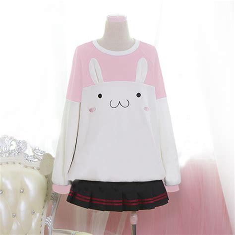 Kawai Sweater Pink kawaii rabbit fleece pullover 183 kawaii harajuku fashion 183 store powered by