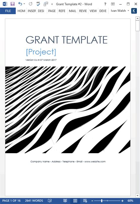 Grant Proposal Template Ms Office Grant Template Word