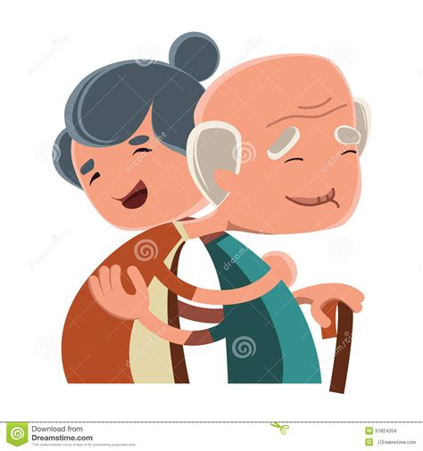 imagenes de amor de viejitos animados old couple hugging illustration cartoon character stock