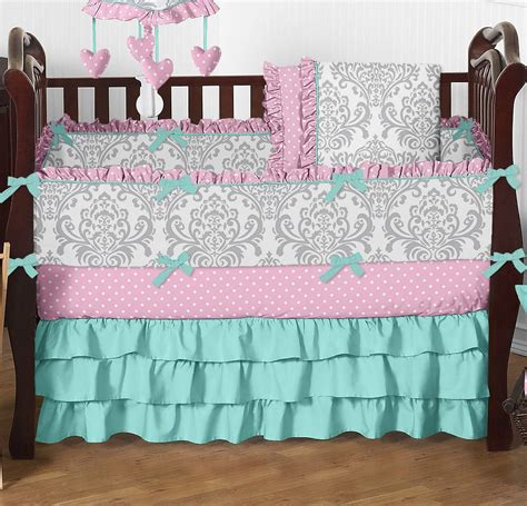 turquoise and pink baby bedding turquoise purple owl baby bedding set