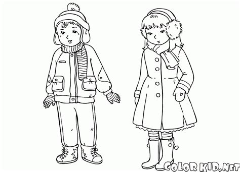 winter clothes coloring page az coloring pages