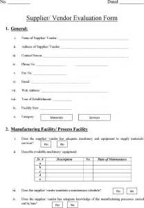 vendor evaluation template free supplier vendor evaluation form formxls