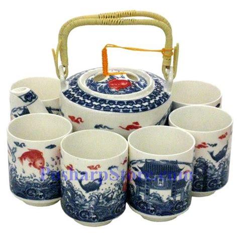 Rumauma Ceramic Tea Pot Set Wave Pattern picture of ceramic blue carp teapot set