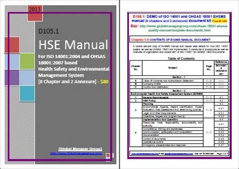hse template hse manual integrated iso 14001 and ohsas 18001 manual