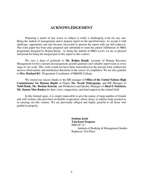 Acknowledgement Letter About Research Paper A Term Paper On Person Fit Theory