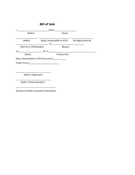 Boat Bill Of Sale Iowa Free Download Bill Of Sale Template Idaho