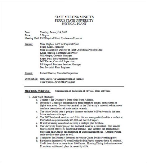 template of minutes of meetings exles staff meeting minutes templates 15 free word excel
