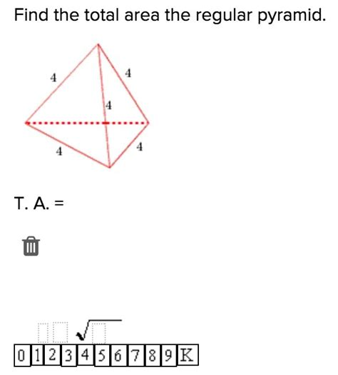 total area 20 points find the total surface area of the regular pyramid give me an explanation