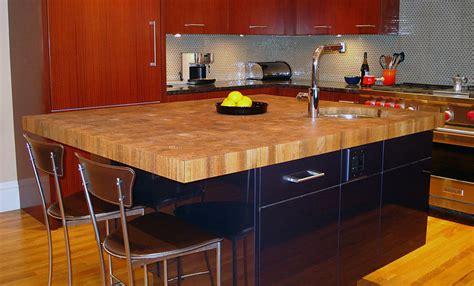 Raised Kitchen Island custom teak butcher block countertop in boston massachusetts