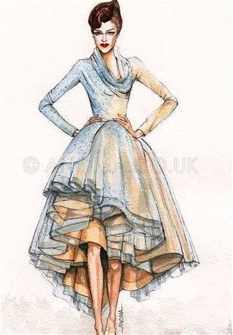 Gorgeous Fashion Illustrations by Fashion Sketch Costume Rendering Beautiful