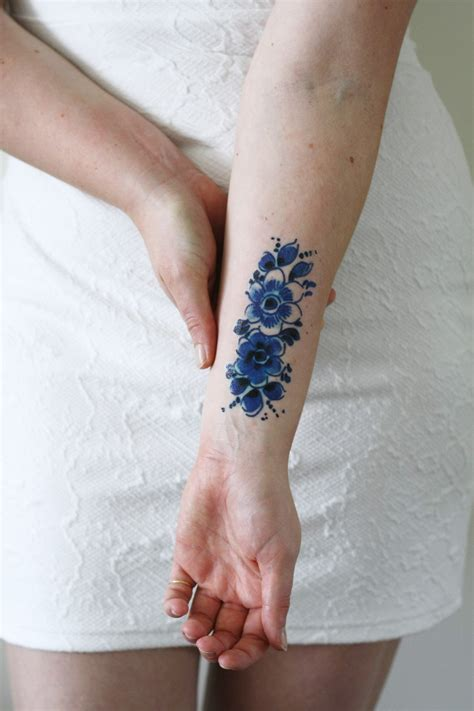 blue flower tattoo delfts blue flower temporary tattoos by tattoorary