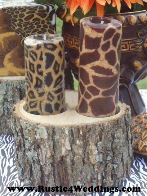 rustic 4 weddings rustic safari wedding candle stands and holders zebra giraffe leopard