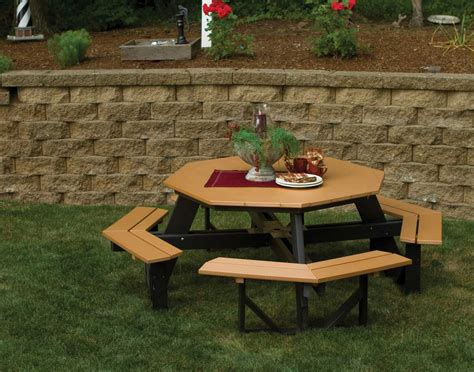 octagon wood picnic table poly lumber octagon walk in picnic table