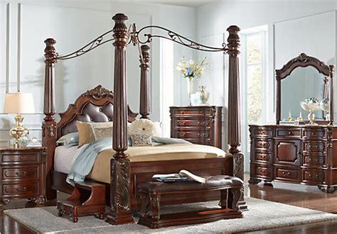 southampton walnut dark brown  pc king canopy bedroom