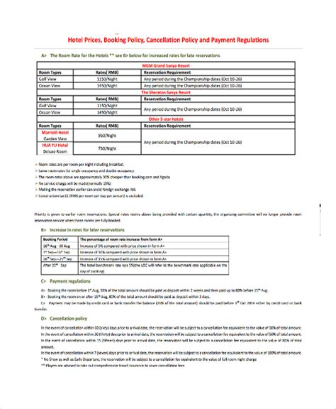 refund cancellation policy template 9 cancellation policy templates pdf sle templates