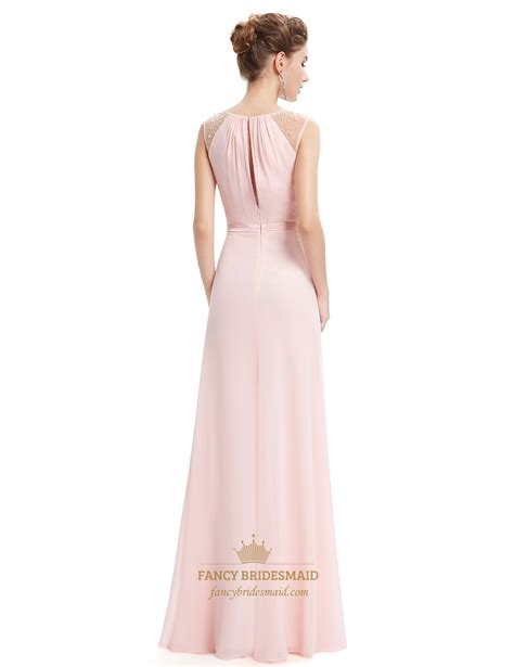 beaded bodice dress pearl pink floor length chiffon prom dresses with beaded