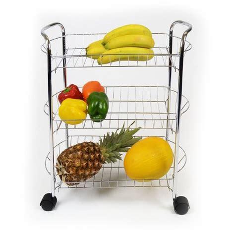 3 Tier Chrome Fruit Vegetable Rack W Wheels Kitchen Vegetable Rack For Kitchen
