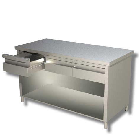 tavolo da lavoro in acciaio ristopro tavolo da lavoro in acciaio a giorno con cassetti